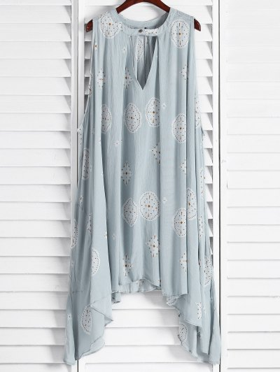 Print Keyhole Swing Dress - Light Blue Xs