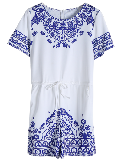 Great Wall Print Porcelain Playsuit - BLUE XS Mobile