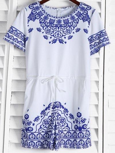 Gran Impresión De La Pared Porcelana Azul Y Blanca Playsuit - Azul
