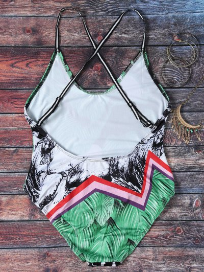 Spaghetti Strap Leaves Print Open Back Swimsuit For Women - COLORMIX L Mobile