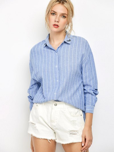 Eyelashes Embroidered Striped Button Up Shirt - Blue