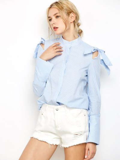 Striped Stand Neck Bowknot Shirt - Stripe