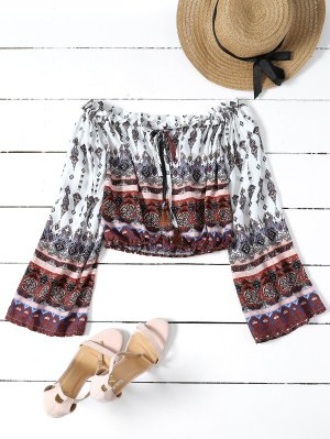 Tribal Print Off The Shoulder Cropped Blouse