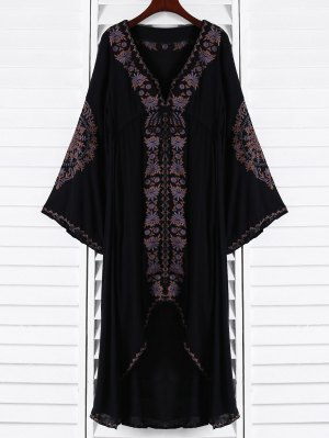 Embroidered High-Low Maxi Dress - Black