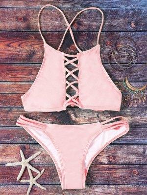 Pink Hollow Out Halter Bikini Set - Pink