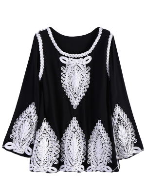 Long Sleeves Trapeze Top - Black