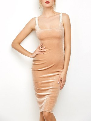 Back Slit Velvet Tank Dress
