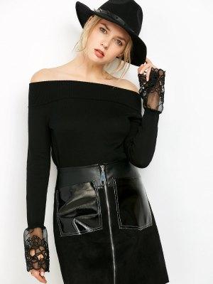 Lace Panel Off Shoulder Knitwear - Black
