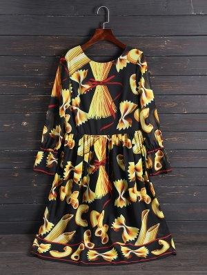 Print Long Sleeve Vintage Dress