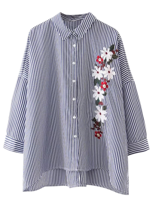 High Low Striped Embroidered Loose Shirt - Stripe