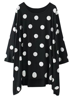 Baggy Polka Dot Blouse - Black