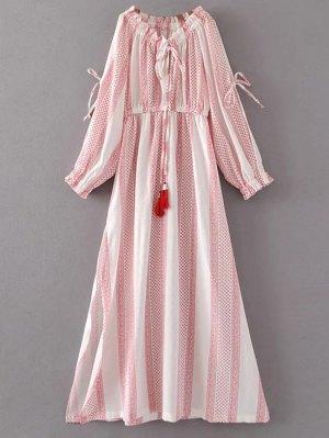 Tie Neck Split Sleeve Printed Maxi Dress - White