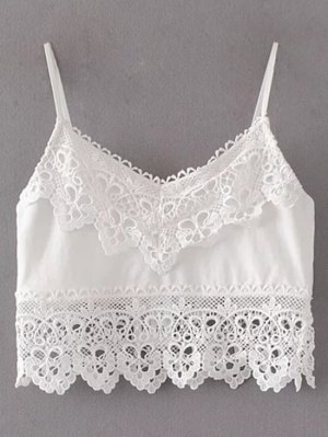 Cami Lace Insert Tank Top - White