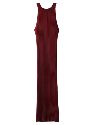 Slit Sleeveless Ribbed Bodycon Dress - Burgundy