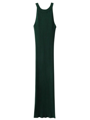 Slit Sleeveless Ribbed Bodycon Dress - Blackish Green