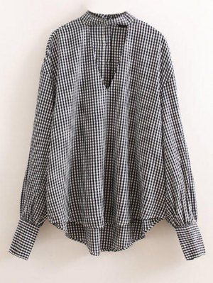 Checked Choker Top - Blue And White