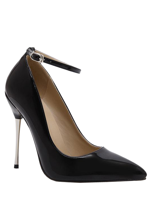 Ankle Strap Stiletto Heel Patent Leather Pumps