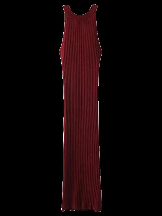 Slit Sleeveless Ribbed Bodycon Dress 208799101