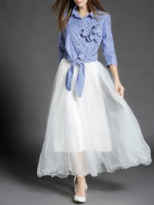Stripe Knot Shirt And Tulle Maxi Skirt - Blue And White