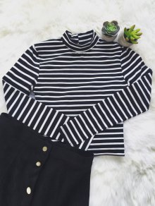 Striped Ribbed Cropped T-Shirt - White And Black M