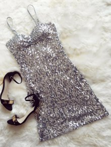 Mini Slip Sequins Dress - Silver