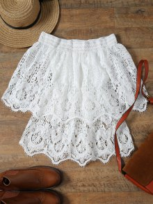 Lace Off The Shoulder Half Sleeve Cover-Up - White