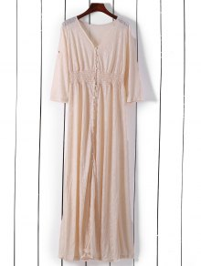 Button Front Boho Maxi Dresss - Pink