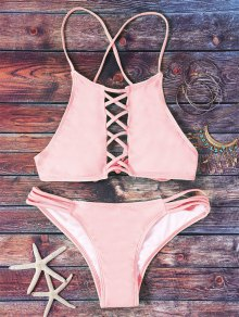 Pink Hollow Out Halter Bikini Set
