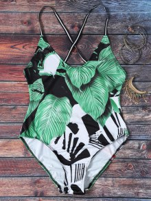 Spaghetti Strap Leaves Print Open Back Swimsuit For Women
