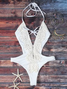High Cut Plunging Neck Lace Swimsuit - White
