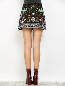 Mini Floral Embroidered Flare Skirt BLACK: Skirts L | ZAFUL