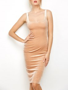 Back Slit Velvet Tank Dress - Camel