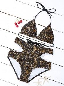 Imprimir Recorte De Talle Alto Bikini Set - Negro