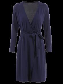 Long Sleeve Midi Wrap Dress - Purplish Blue