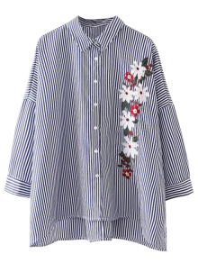 High Low Striped Embroidered Loose Shirt