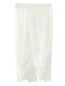 Crochet Lace Pencil Skirt - White S
