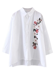High Low Floral Embroidered Shirt