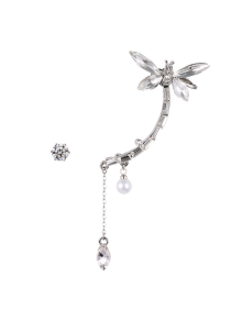 Dragonfly Ear Cuff and Rhinestone Earring