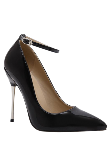 Ankle Strap Stiletto Heel Patent Leather Pumps - Black