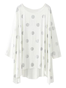 Baggy Polka Dot Blouse - White S
