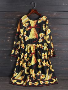 Print Long Sleeve Vintage Dress