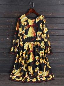 Imprimir vestido largo de la manga de la vendimia