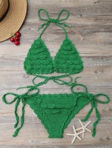 String Knitting Bikini Set - Green