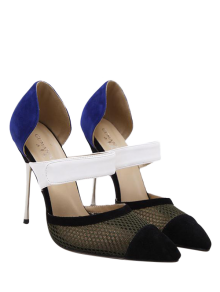 Mesh Pointed Toe Color Block Pumps - Blue