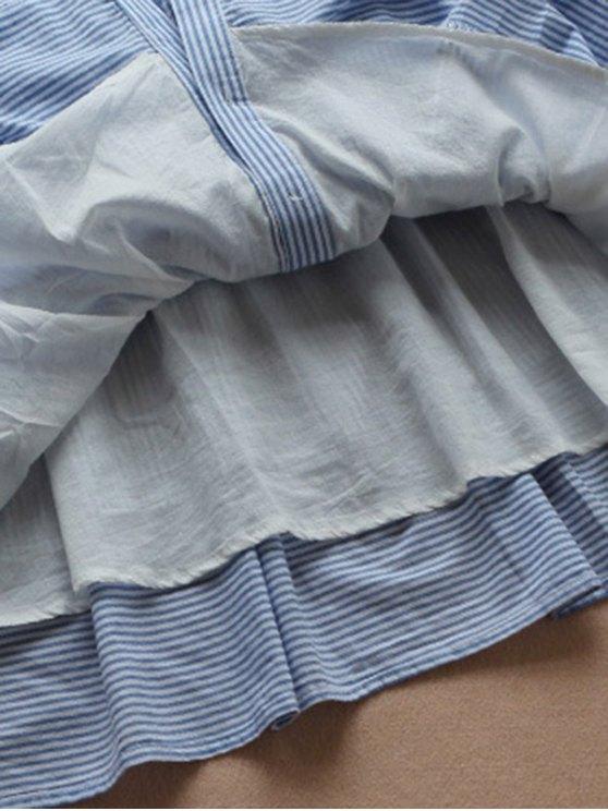 Striped Linen Blend Shirt Dress - BLUE AND WHITE M Mobile