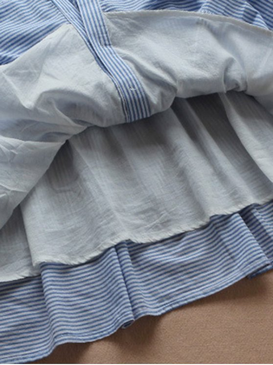 Striped Linen Blend Shirt Dress - BLUE AND WHITE S Mobile