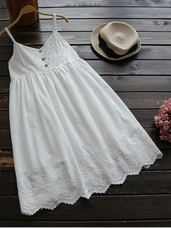 chic Embroidered Smock Babydoll Dress - WHITE ONE SIZE
