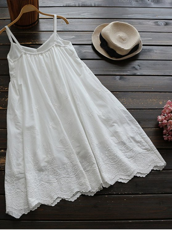 Embroidered Smock Babydoll Dress - WHITE ONE SIZE Mobile