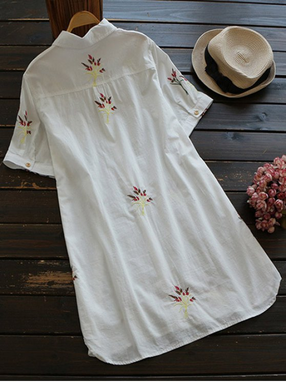 Embroidered Cotton Shirt Dress - WHITE M Mobile