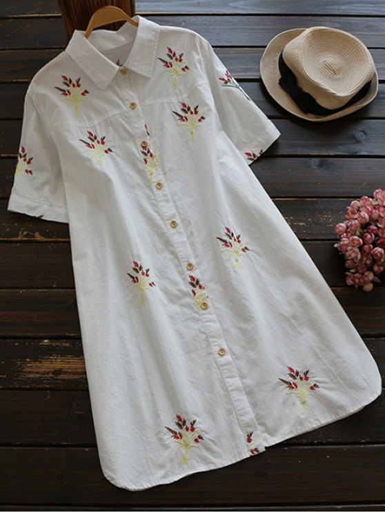 sale Embroidered Cotton Shirt Dress - WHITE S